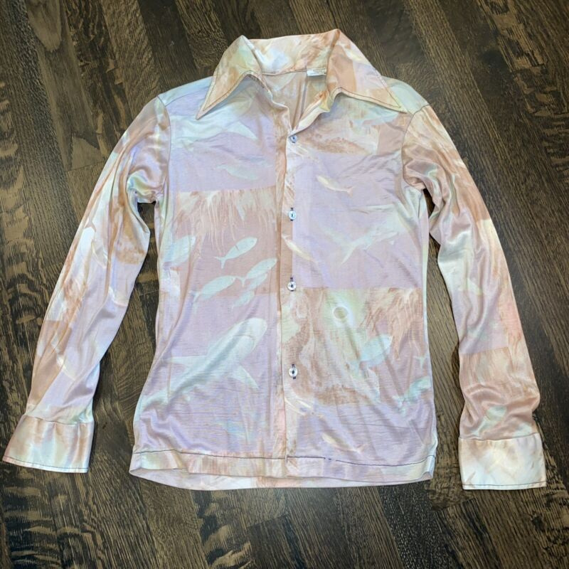 Vtg 60s 70s JCPENNEY Disco Shirt Shiny Stretch NYLON Acetate Kids Youth BOYS 16