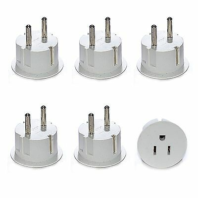 American to European Grounded Schuko Outlet Plug Adapter - 6 Pack - High Quality