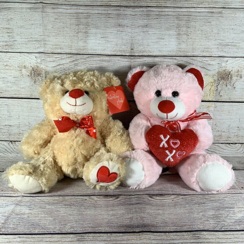 Lot Of 2 Valentine's Day Teddy Bear Plush