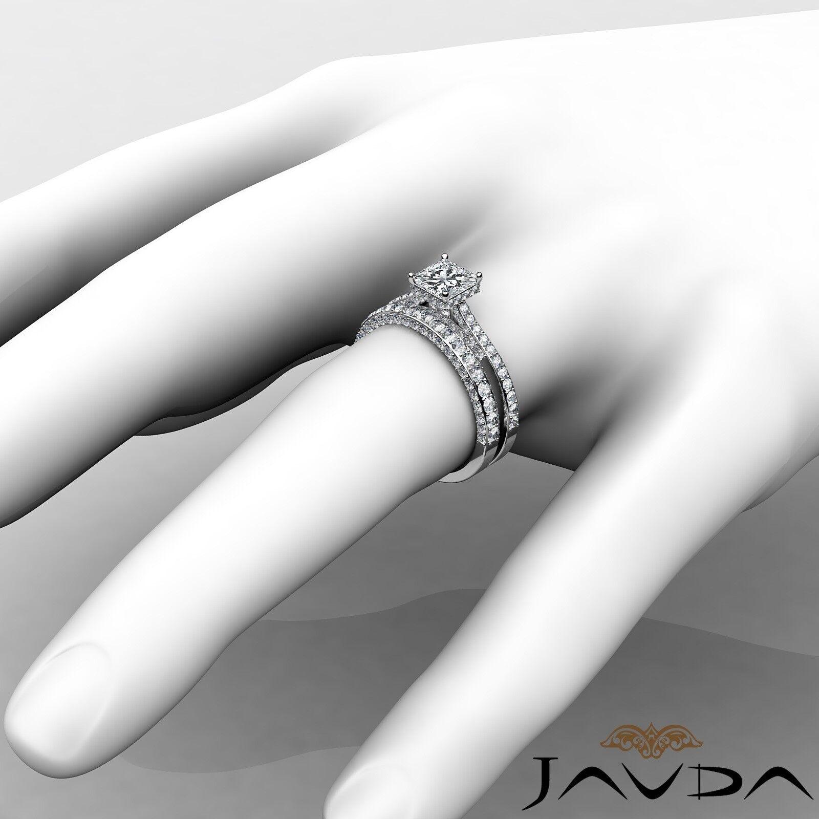 2.35ctw Circa Halo Pave Wedding Set Princess Diamond Engagement Ring GIA G-VVS1 4