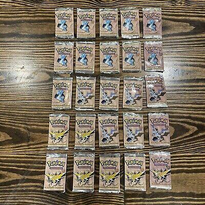 1999 Pokemon Fossil Set 25x Empty Pack Wrapper Lot - Zapdos Aerodactyl Lapras
