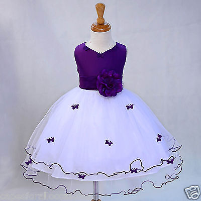 WHITE PAGEANT BUTTERFLY WEDDING FLOWER GIRL DRESS 6M-18M 2-3T 4 5 5T 6 7 8 9 10 - Wedding Flower Girl Dress