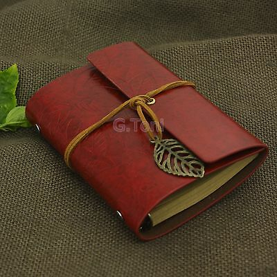 Refillable Portable Leaves Leather Notebook Personalized Sketchbook Journal Red