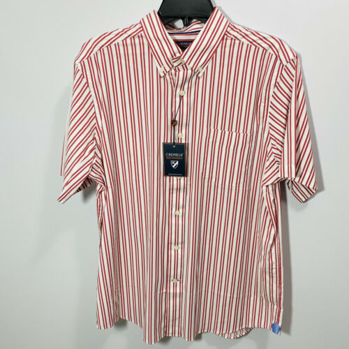Cremieux Mens S/S Performance Shirt Button Down XL Red Stretch Lightweight Cool Casual Button-Down Shirts