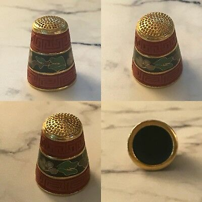 VINTAGE CHINESE ENAMEL CARVED RED CINNABAR THIMBLE