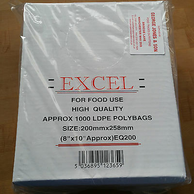 1000 Clear Poly Bags 8x10