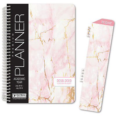 Hardcover Academic Year Planner 2018-2019 Pink Marble