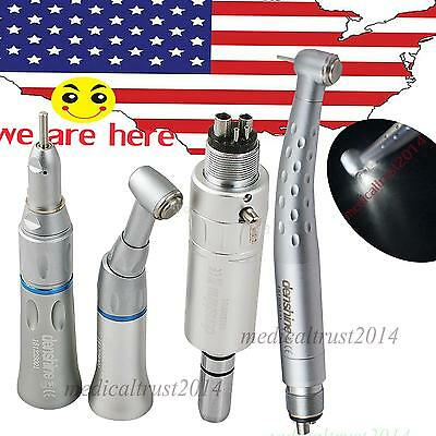 Dental Handpiece 1set Push 4 Hole Triple 3 Spray Led High Speed Low Speed Kit