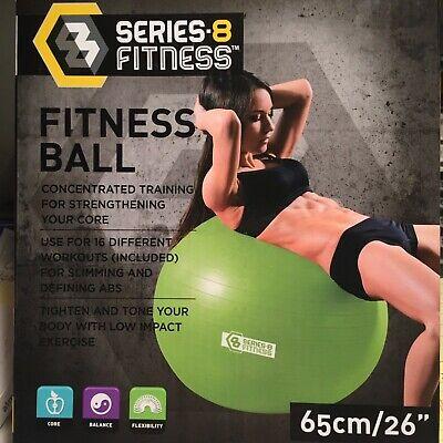 """Series 8 Fitness Exercise Ball 65cm/26"""" Black NEW."""