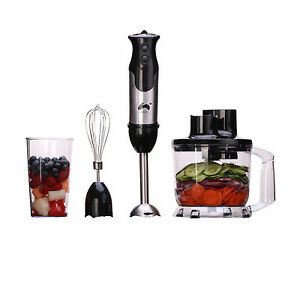 Ovation 3 in 1 Hand Blender Food Mixer Processor Whisk Handheld Set Black 800W