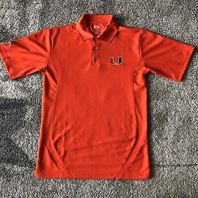 Pro Player NCAA Miami Hurricanes Football Polo Shirt Orange Mens Small ()