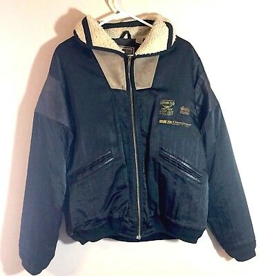 Ground Zero Jacket Coat Sherpa Iron Bird Bomber Black Medium Men's Vintage