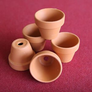 Miniature clay flower pots 6 for doll house fairy garden for Small clay flower pots