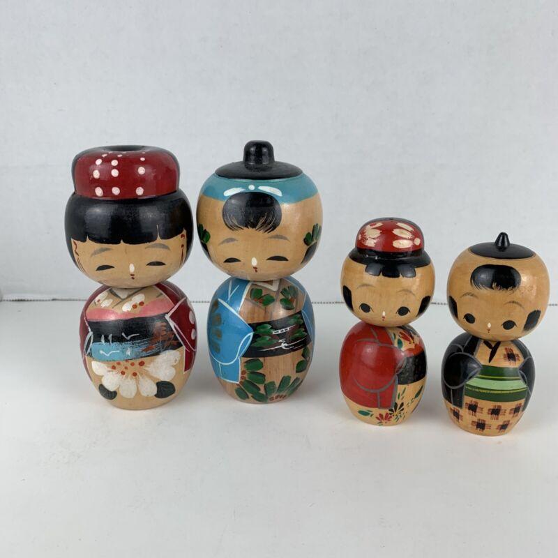 2 Sets Of Vintage Hand Painted Wooden Japanese Kokeshi Bobble Head, Nodder Dolls