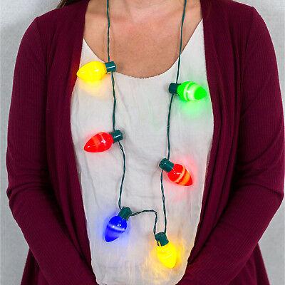 Christmas LED Flashing Light Bulb Necklace 3 Mode Setting Party Favors Battery  (Flashing Christmas Bulb Necklace)