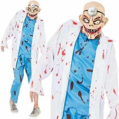 Mad Surgeon Halloween Costume (Bloody Mad Surgeon Scrubs Halloween Costume Mens Zombie Doctor Fancy Dress)