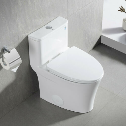 Compact White Ceramic Modern One Piece Elongated Toilet  1.28GPF Seat Included