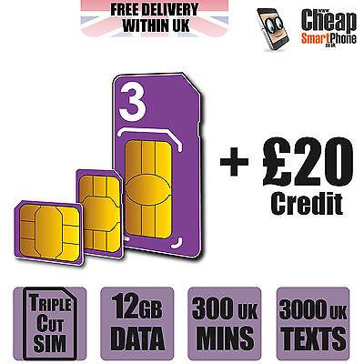 Three 3 UK Network Nano/Micro/Standard PAYG Sim Card With £20 Credit -12GB Data*