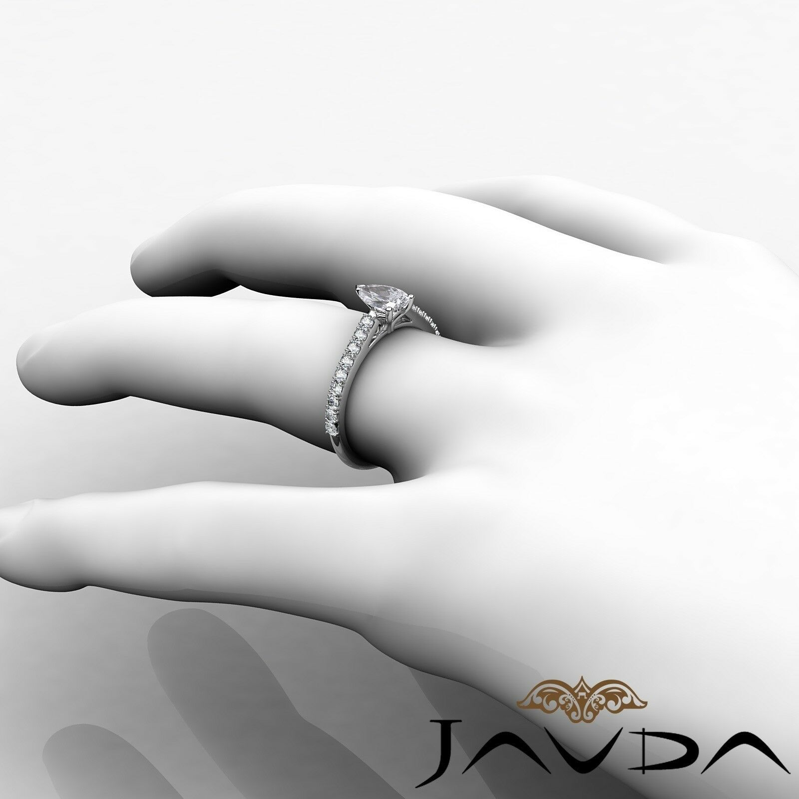 0.97ct Prong Set Classic Sidestone Pear Diamond Engagement Ring GIA H-SI1 W Gold 4
