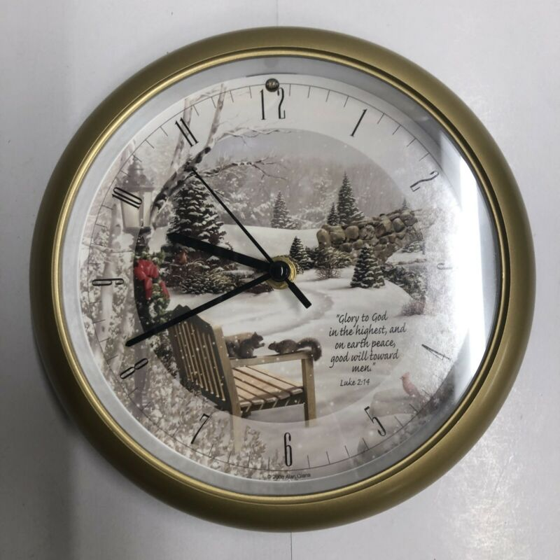 "Alan Giana Christmas Carol Clock (Size 8"") Snowy Park Scene"