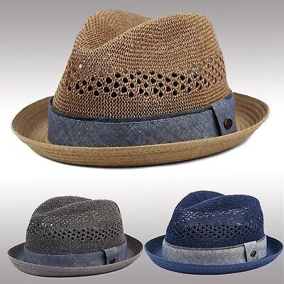 - Men's Vented Summer Straw Fedora Porkpie Hat, Stingy Brim Mesh Derby Hat F2804