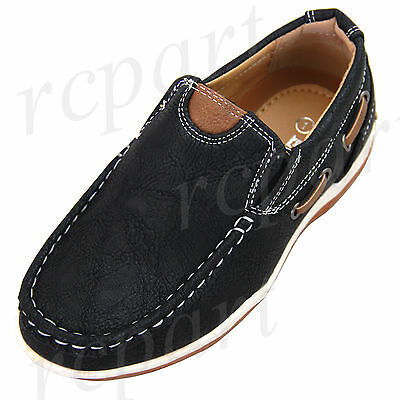 New boy kids slip on casual shoes walk comfort school -