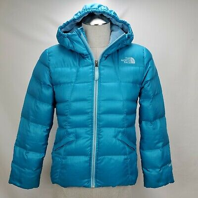 The North Face Girls 550 Down Insulated Winter Jacket Coat Size Medium Blue Hood