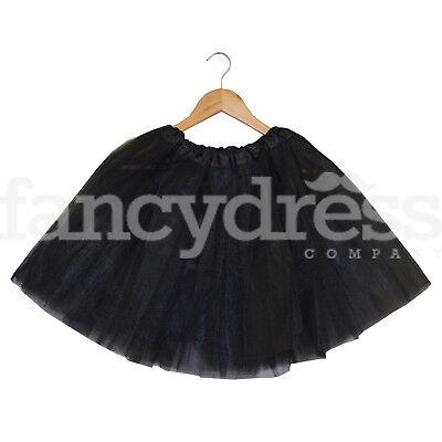 Black Ladies Girls Tutu Skirt Fancy Dress Halloween Underskirt 3 Layers 17