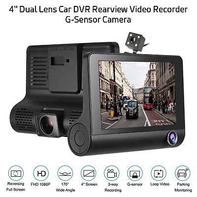 "4"" 1080P Car DVR 3 Lens Dash Cam Front and Rear Video Recorder Camera G-sensor"