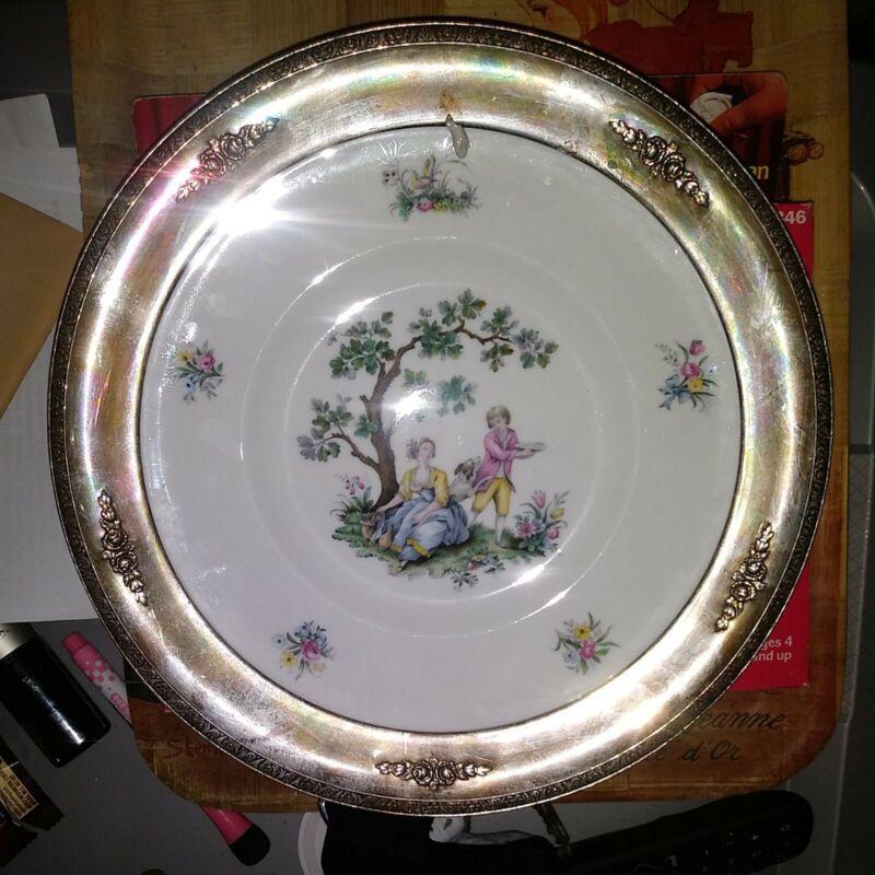 Watteau Royal Worcester  Lovers Bone Porcelain Plate w/ Sterling Rim 51 antique