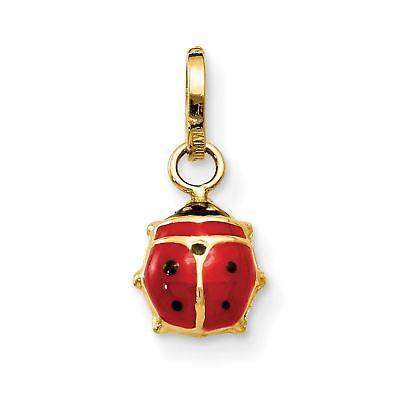 14k Yellow Gold Enameled Ladybug Charm Pendant - - 14k Yellow Gold Ladybug