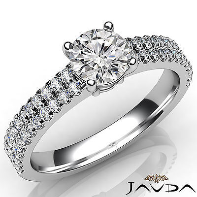 2 Row Shank French U Pave Round Diamond Engagement Ring GIA I Color VS2 1.21 Ct