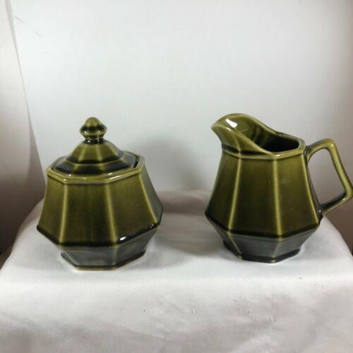 Vintage Green Ceramic Octagon Sugar Bowl and Creamer