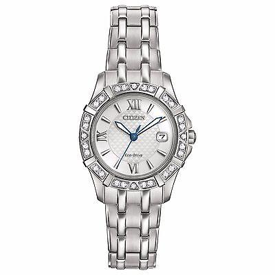 Citizen Eco-Drive Women's EW2360-51A Diamonds Silver-Tone Bracelet 26mm Watch