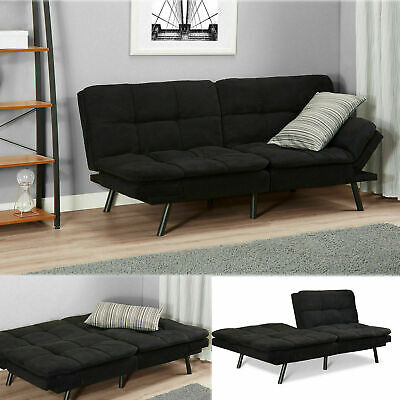 Sleeper Sofa Bed Black Suede Convertible Couch Modern Living Room Futon (Contemporary Living Room Loveseat)