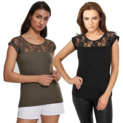 Baumwolle Lace Top (Urban Classics - Ladies Top Laces Tee TB714 Damen Shirt)