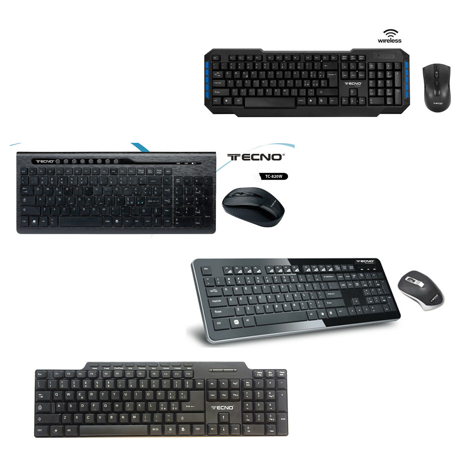 KIT TASTIERA MOUSE KEYBOARD SENZA FILI WIFI WIRELESS CAVO USB PC DESKTOP TECNO