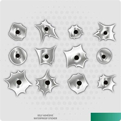 12 x Bullet Holes Vinyl Stickers Car Van Truck Taxi Lorry Novelty Decal