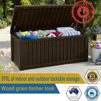 Keter Rockwood Indoor Outdoor Storage Box Lockable With Two Seat
