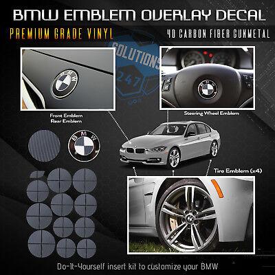 For BMW  ALL Emblem Overlay Sticker Decal Complete Set - Premium 4D Carbon Fiber
