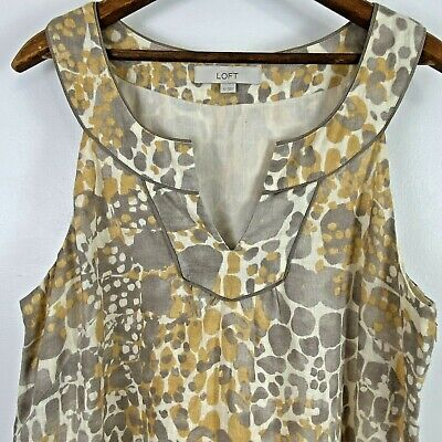 Ann Taylor Loft Sleeveless Linen Dress Womens 12 Yellow Gray Animal Print Lined