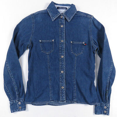 6434322c 90S TOMMY HILFIGER JEANS DENIM SNAP UP LONG SLEEVE SHIRT AALIYAH VINTAGE  WOMENS