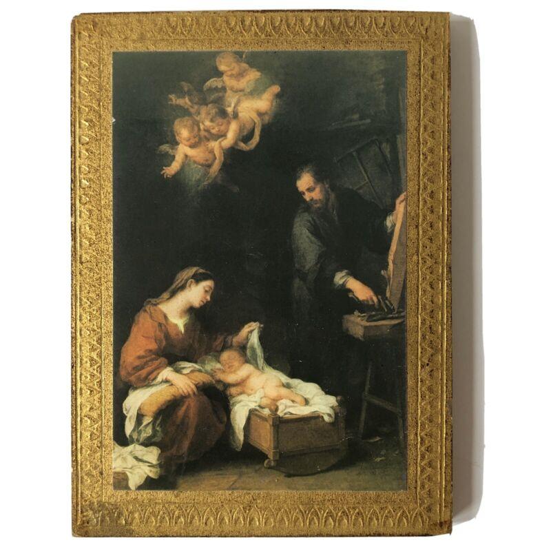 "Vtg Holy Family Wall Plaque Italy Gold Gilt Wood Italian Murillo Religious 5x7"""