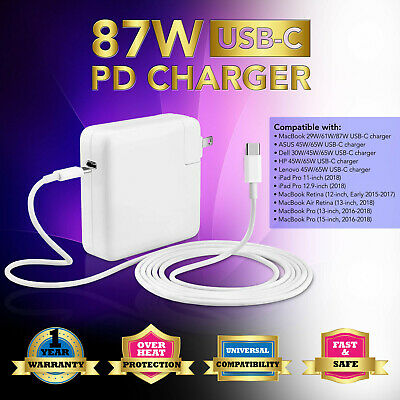 NEW 87W Type C USB Power Charger Adapter 2M USB-C Cable for Ap Macbook Pro 15""