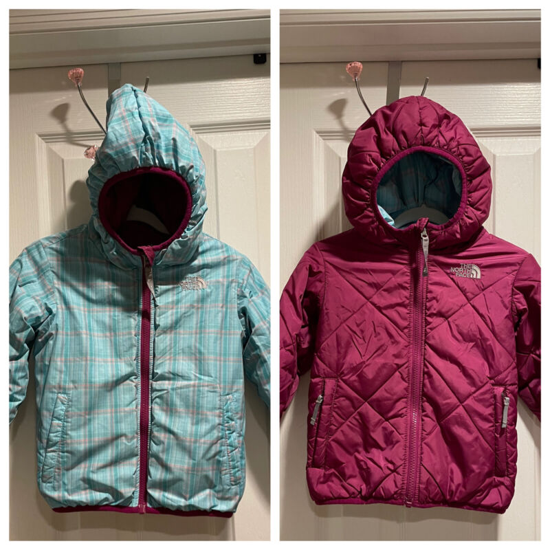 The North Face Toddler Girls Reversible Purple Blue Puffer Hooded Jacket 4T EUC
