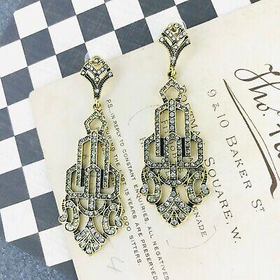 1920s Art Deco Jewelry: Earrings, Necklaces, Brooch, Bracelets Art Deco Gold Bridal Chandelier Earrings Rhinestone Geometric Crystal Long $19.00 AT vintagedancer.com