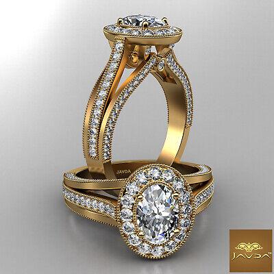 Milgrain Pave Bezel Set Oval Diamond Engagement Split Shank Ring GIA D VS2 1.4Ct