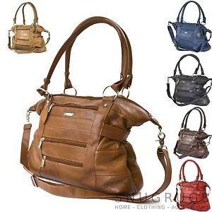 LADIES-LARGE-LEATHER-TOTE-BAG-SHOULDER-HANDBAG-with-strap-Brown-Black-Tan-Red