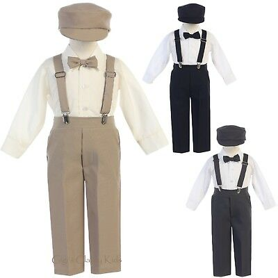 Boys Suspender Pants Outfit 5 pc Suit Set Easter Wedding Baptism Christmas Party - Christmas Outfit Boys