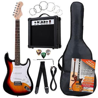 Guitarra Electrica Pack Amplificador 10W Cuerdas Plectros Cinturon Sunburst Set